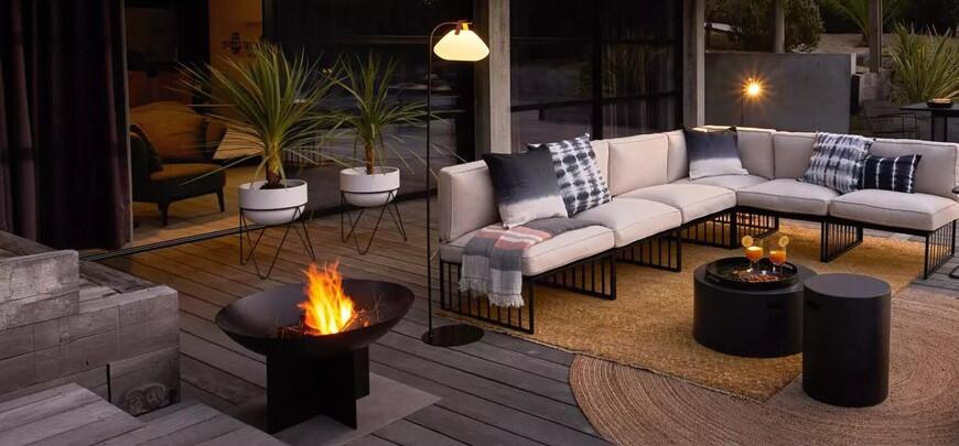chauffage pergola terrasse avec brasero