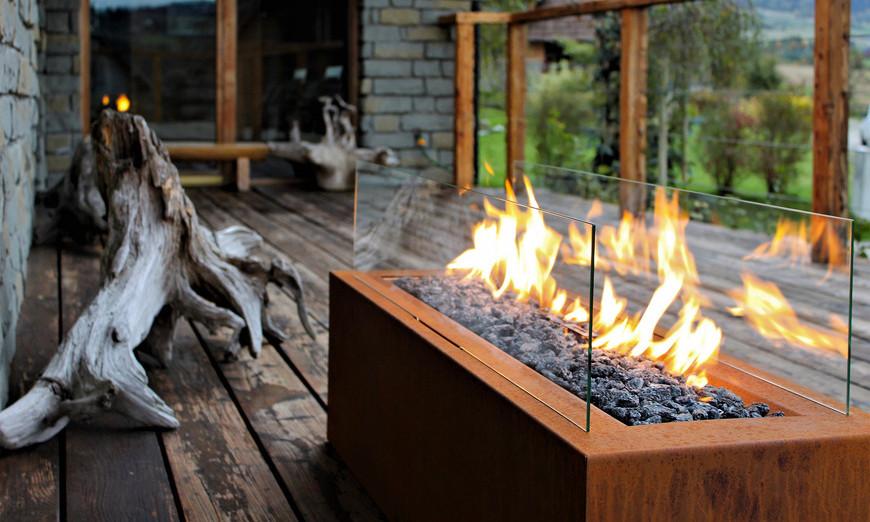 cheminée bioéthanol extérieur chauffage pergola