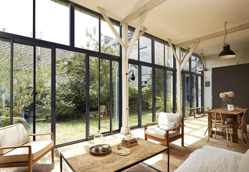 grande baie vitrée vue jardin