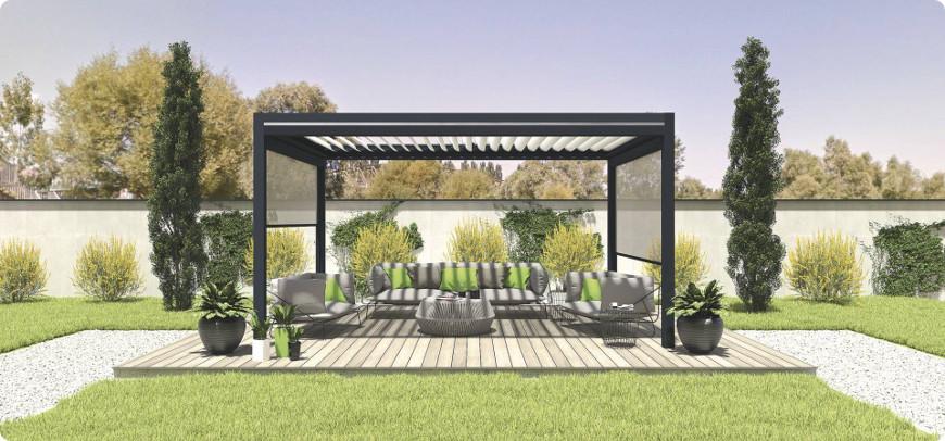 pergola bioclimatique autoportée installée dans votre jardin