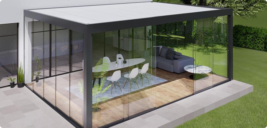 pergola aluminium fermée par des parois vitrées coulissantes